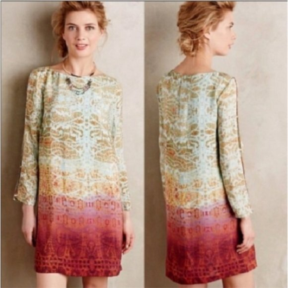 Anthropologie Dresses & Skirts - Maeve Anthropologie Cleome Shift Ombre Boho Dress